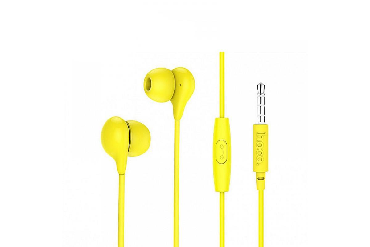 Гарнитура вакуумная (наушники с микрофоном) HOCO M13 Candy 3.5мм цвет желтый
