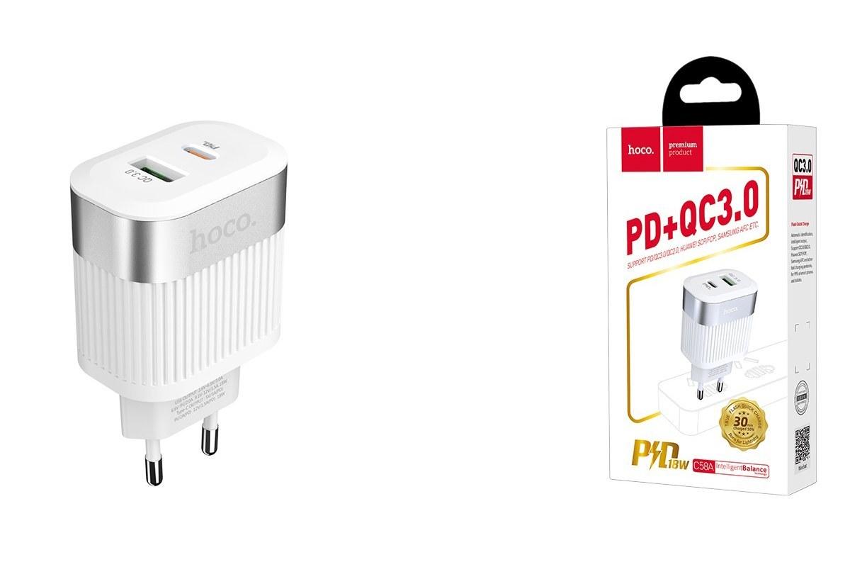 Сетевое зарядное устройство USB C58A Prominent PD+QC3.0 charger белый