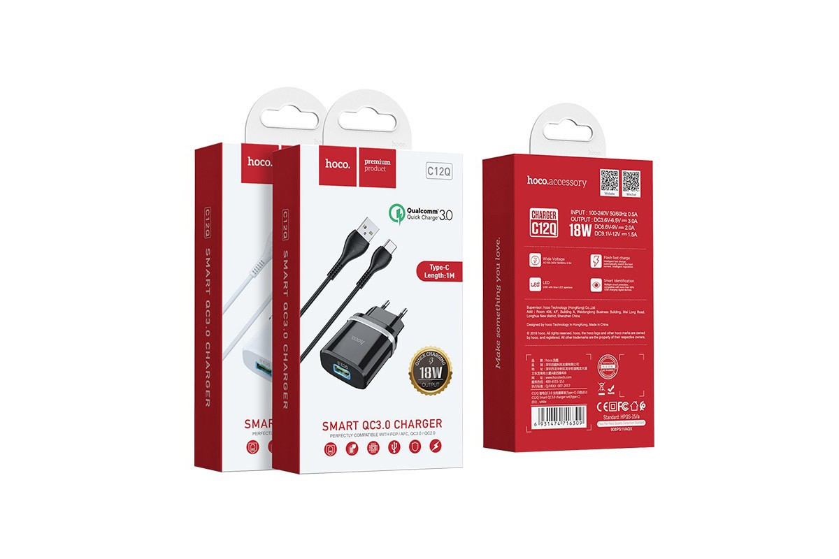Сетевое зарядное устройство USB 3000 mAh + кабель micro USB HOCO C12Q черный (быстрая зарядка)