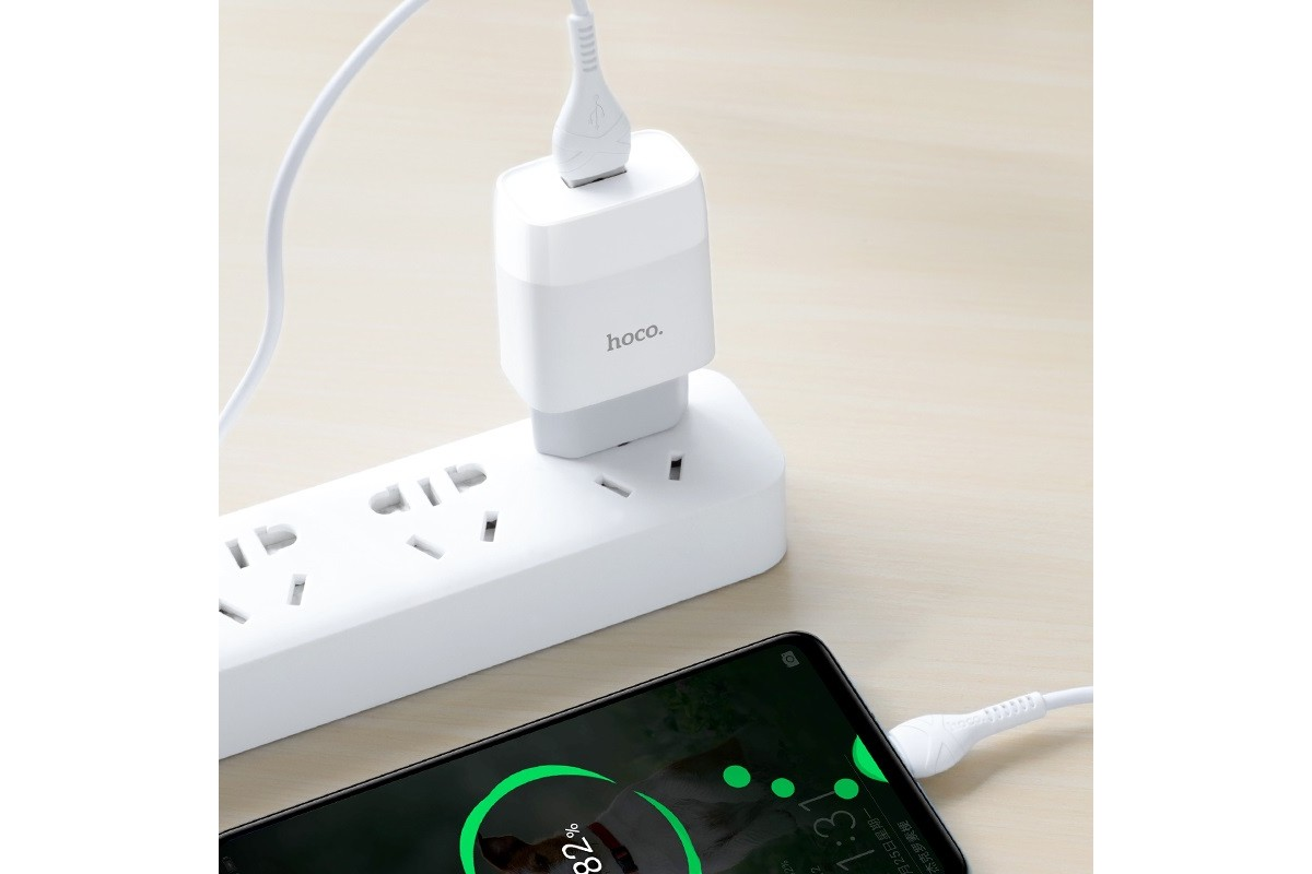 Сетевое зарядное устройство USB + кабель Type-C HOCO C72A Glorious stngle port charger белый