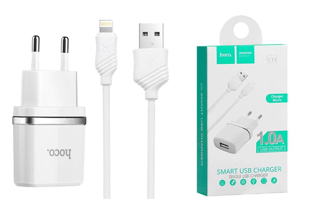 Сетевое зарядное устройство USB 1000 mAh + кабель iPhone 5/6/7 USB HOCO C11