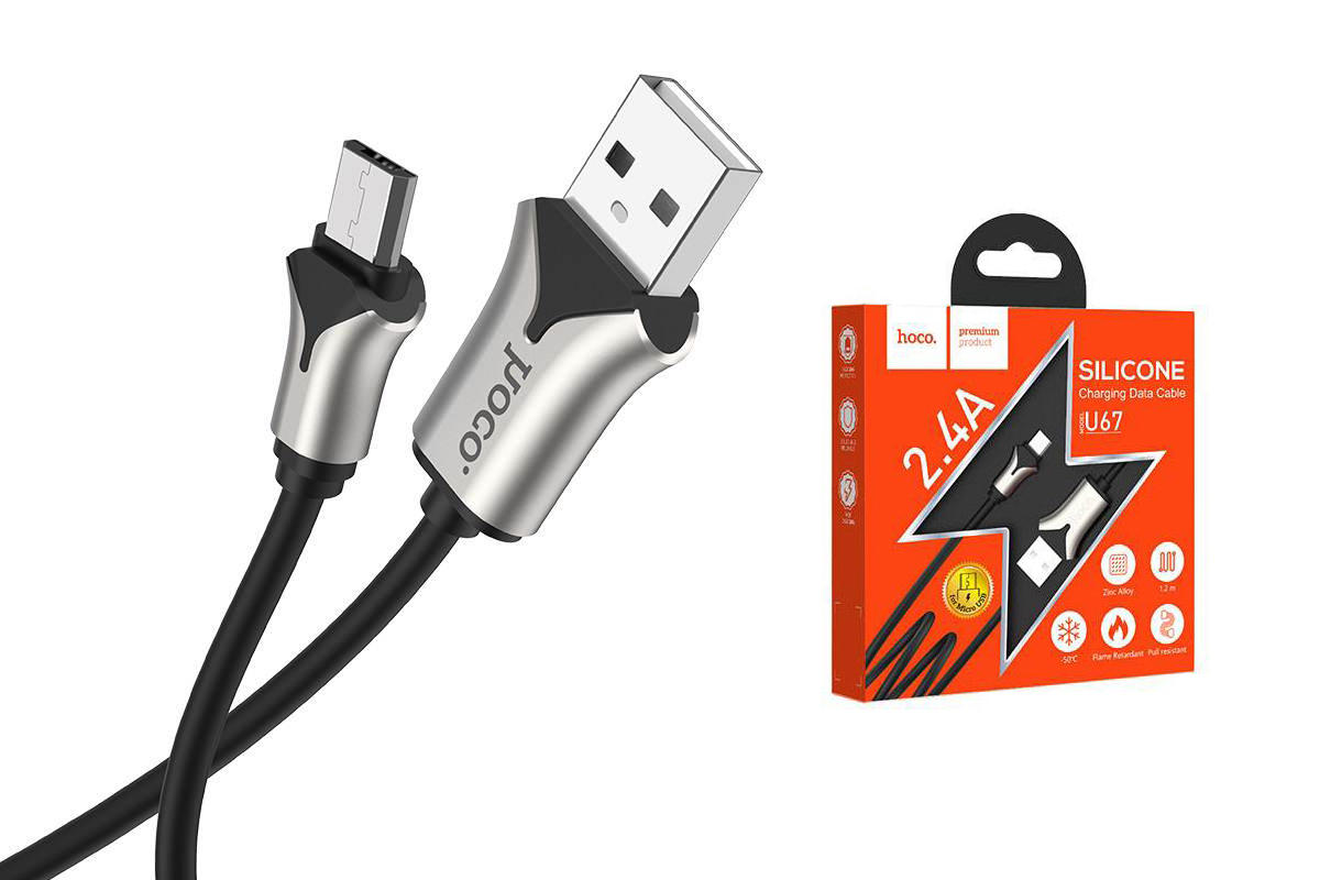 Кабель USB micro USB HOCO U67 Soft silicone charging data cable (черный) 1 метр