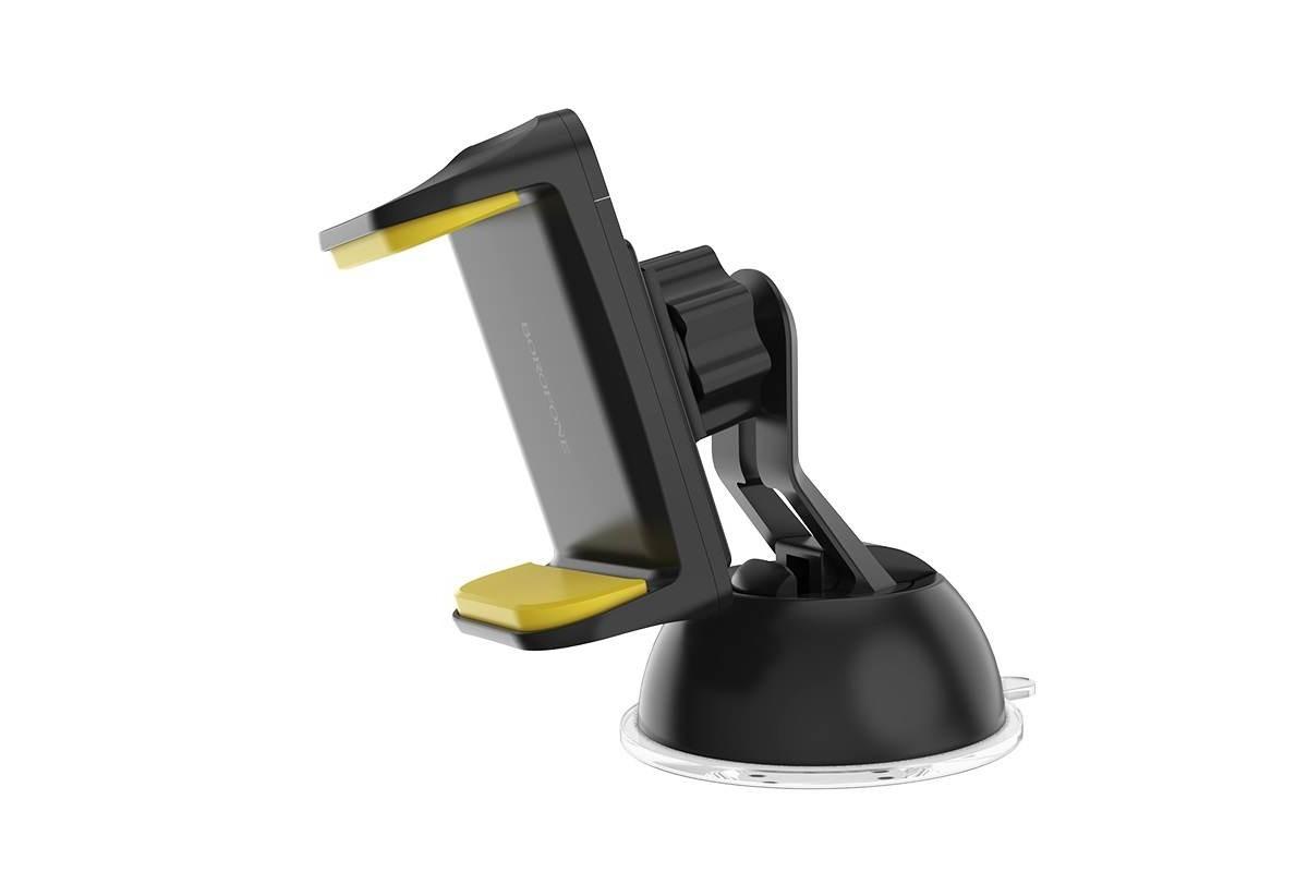 Держатель авто BOROFONE BH4 Joydock suction на стекло черно-желтая