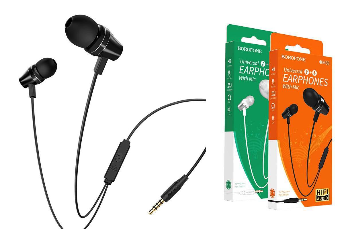 Гарнитура BOROFONE BM38 Bright sound Universal earphones 3.5мм цвет черная