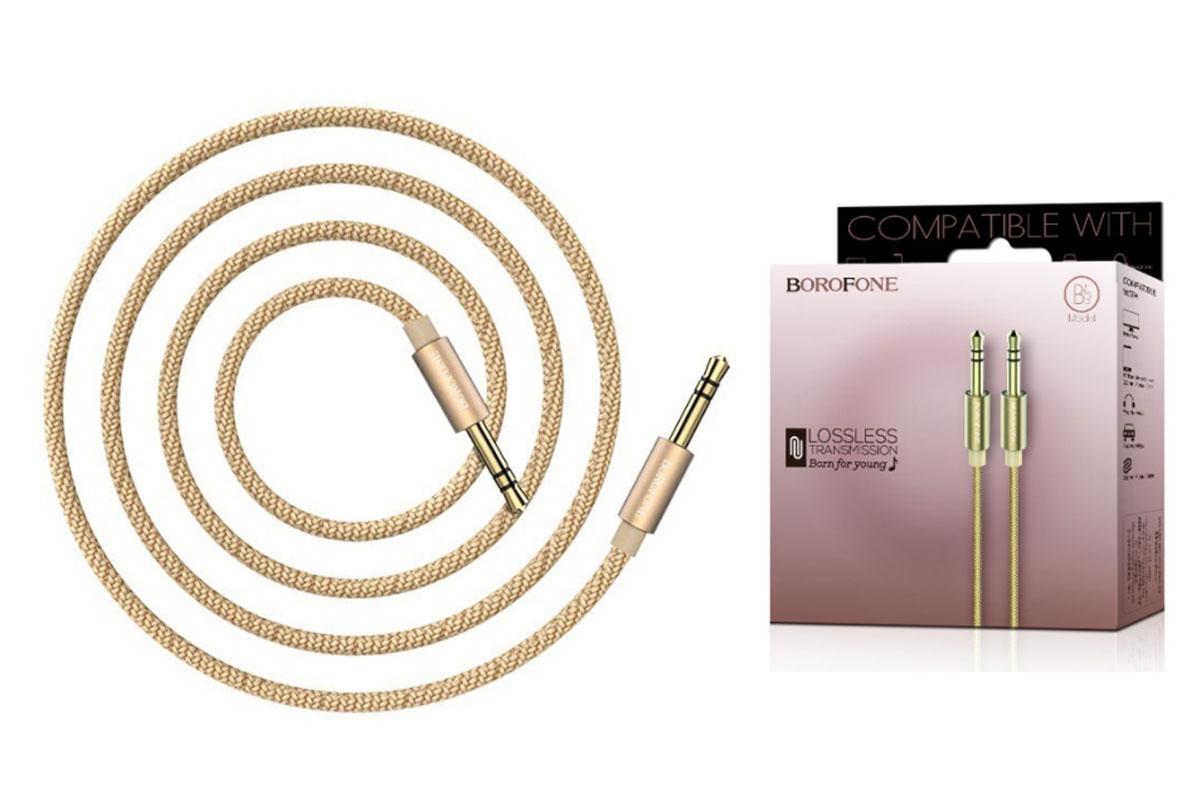 Кабель удлинитель BOROFONE BL3 AUX Audio cable 3.5 1 метр золотой