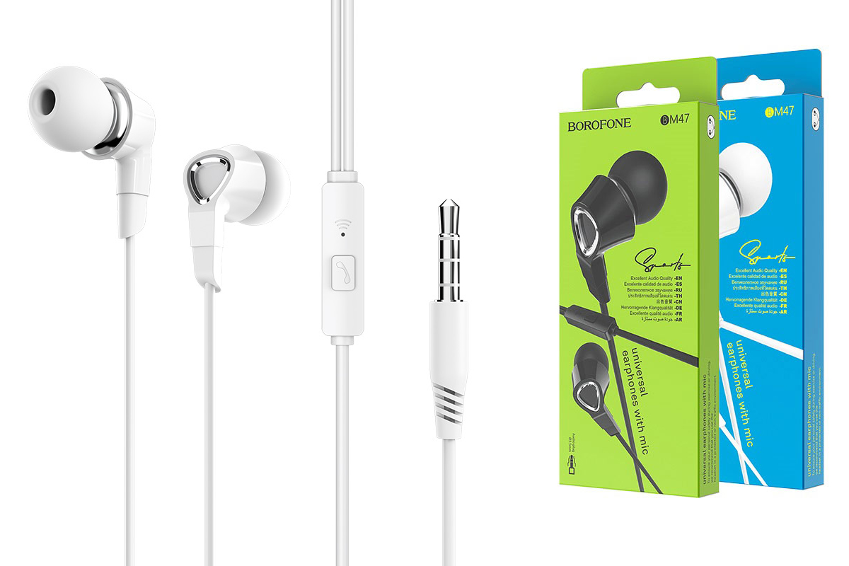 Гарнитура BOROFONE BM47 Dreamt universal earphones 3.5мм цвет белая