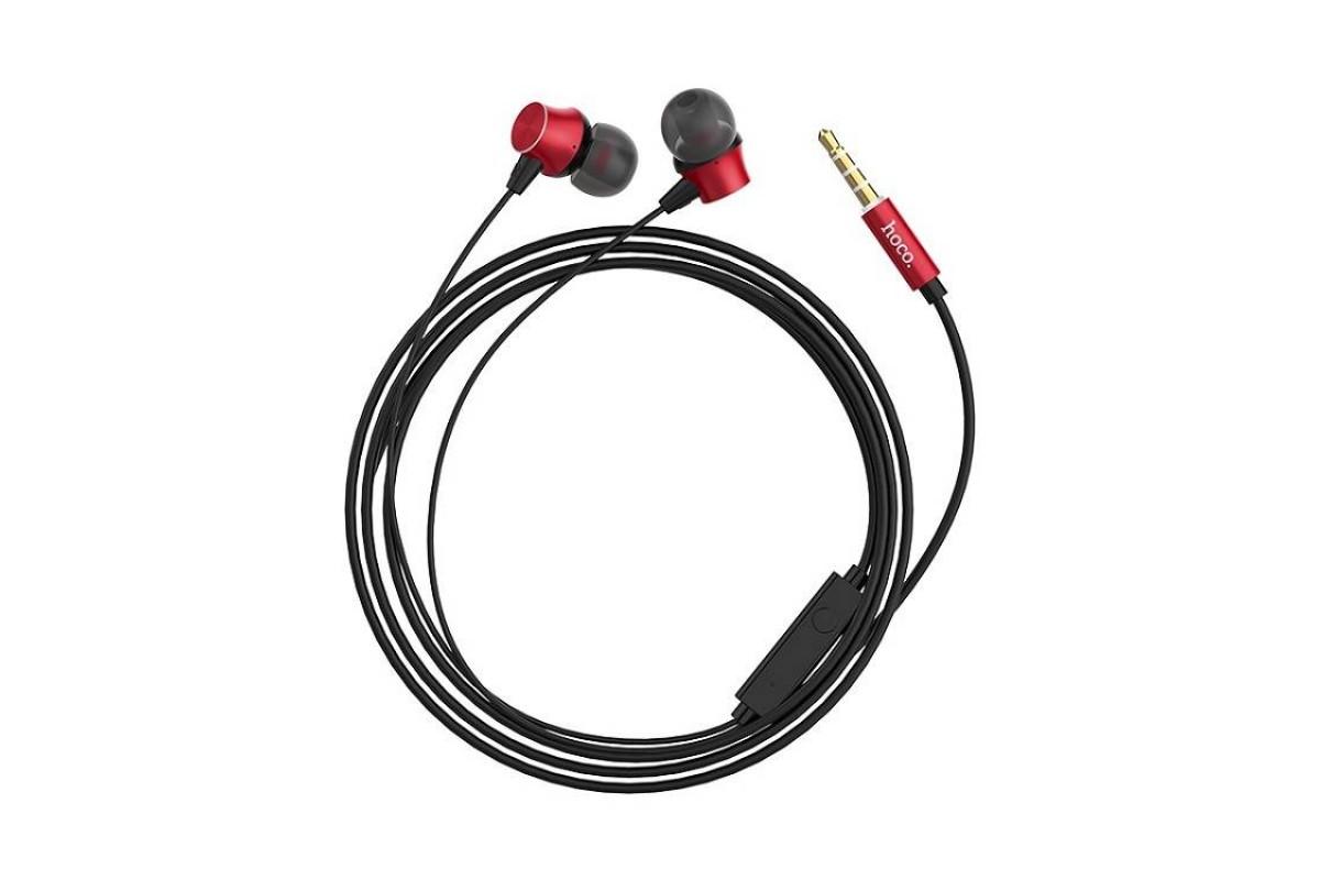 Гарнитура HOCO M51 Proper sound universal l 3.5мм красная