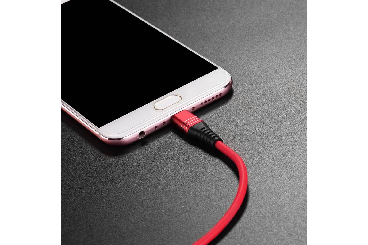 Кабель USB micro USB HOCO U46 Tricyclic silicone charging cable (красный) 1 метр