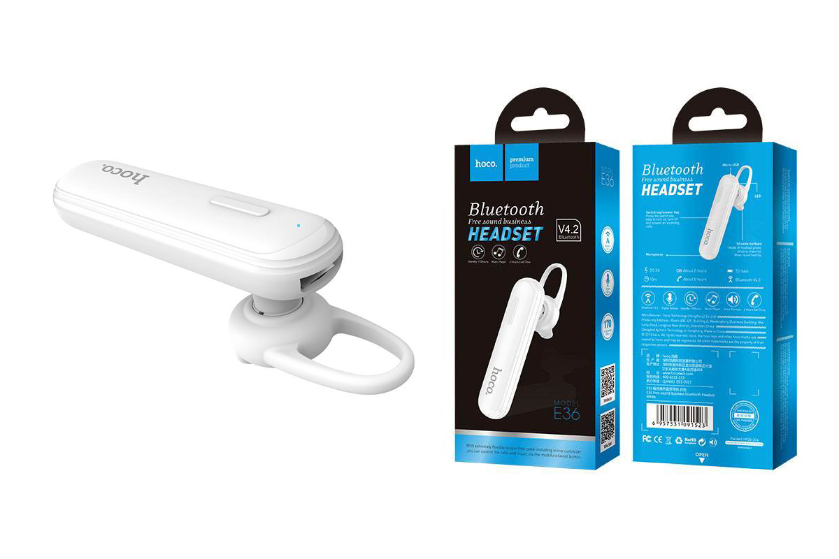Bluetooth-гарнитура E36 Free sound business HOCO белая
