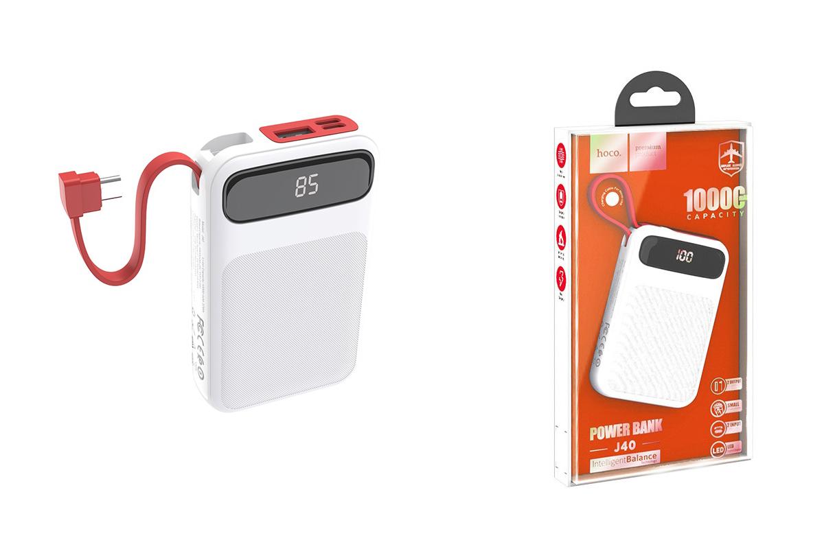 Универсальный дополнительный аккумулятор HOCO  J40 Powerful mobile power bank for Type-C(10000) белый