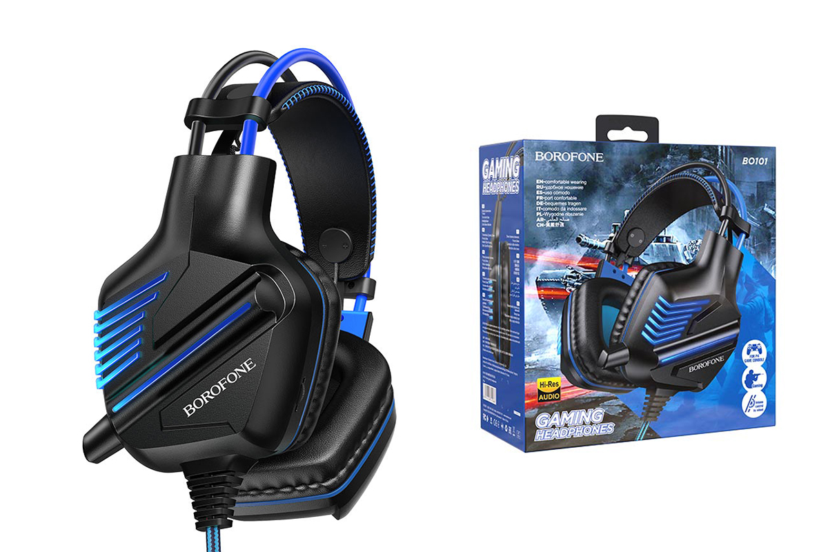 Внешние наушники BO101 BOROFONE Racing gaming headphones синие (игровые с гарнитурой)