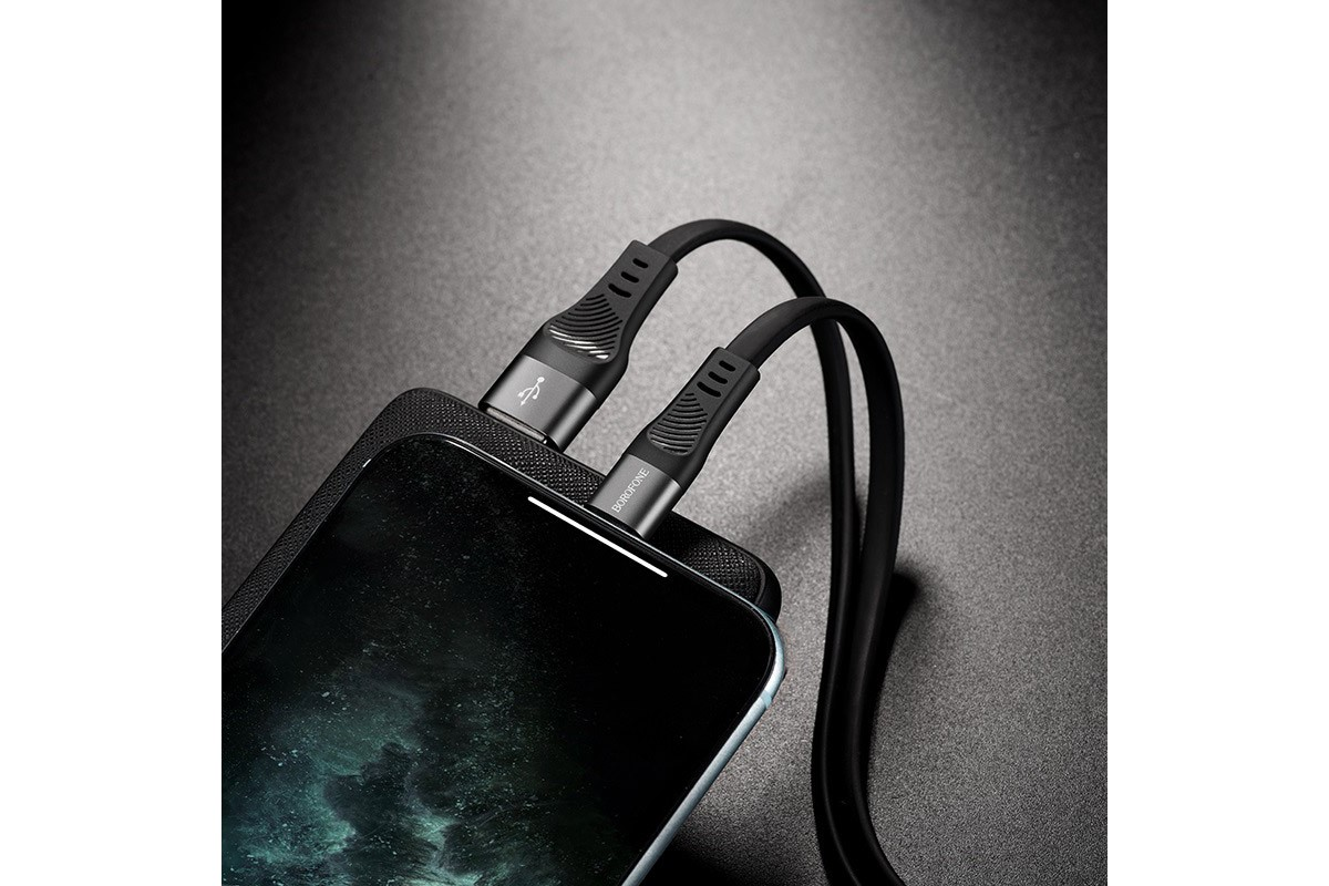Кабель для iPhone BOROFONE BU18 Crown Silicone Charging data Cable for Lightning 1м черный