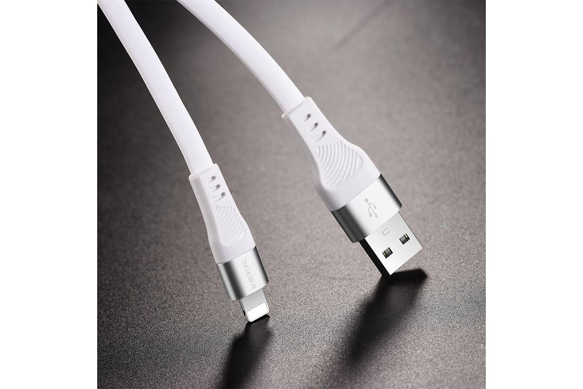 Кабель для iPhone BOROFONE BU18 Crown Silicone Charging data Cable for Lightning 1м белый