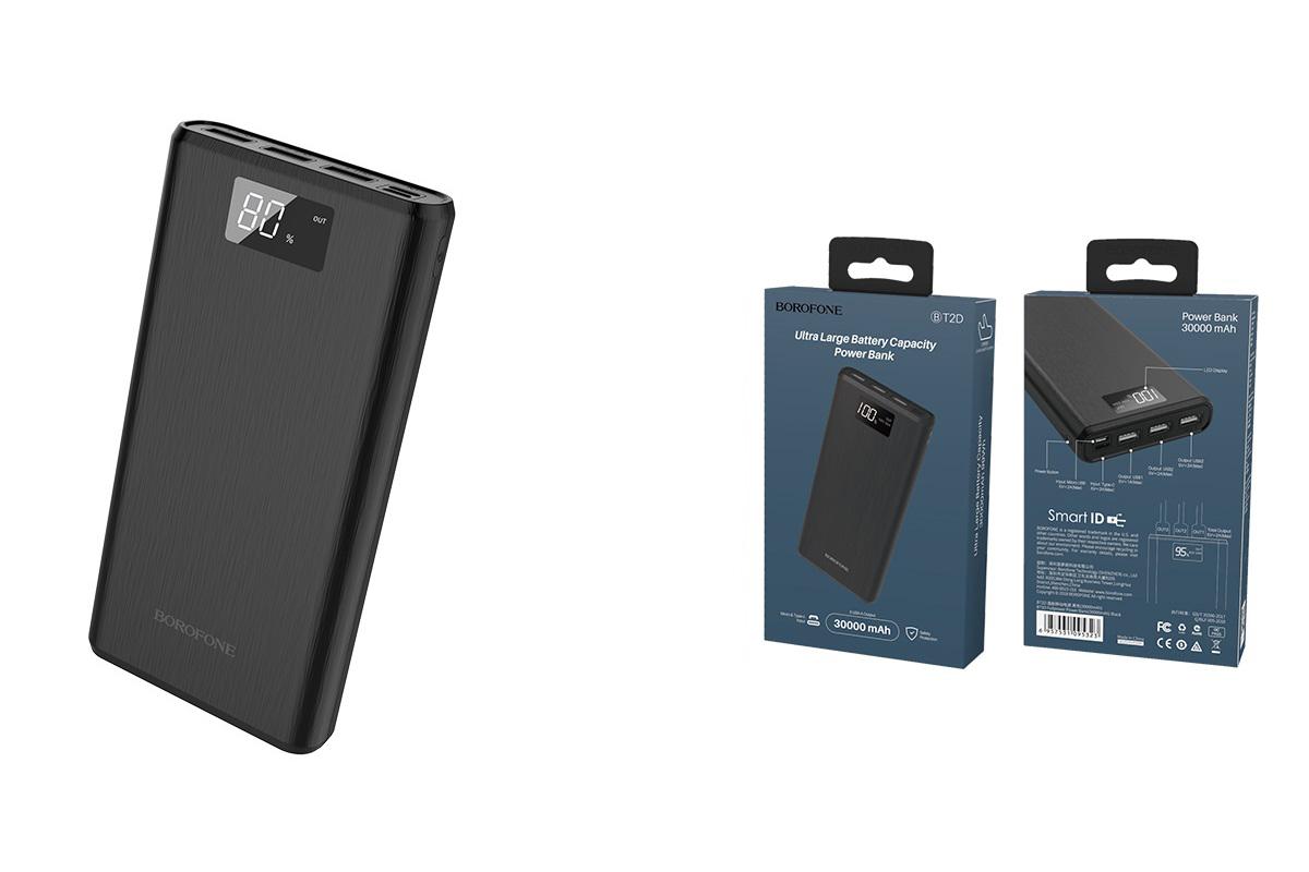 Универсальный дополнительный аккумулятор BOROFONE BT2D Fullpower power bank 30000mAh mAh черный