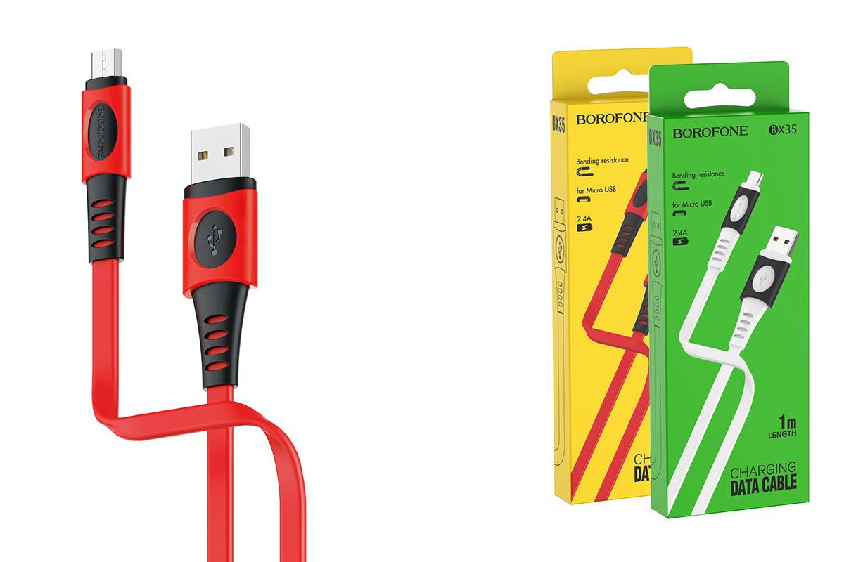 Кабель USB micro USB BOROFONE BX35 Carib charging data cable (красный) 1 метр