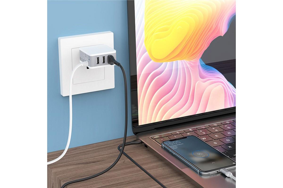 Сетевое зарядное устройство  3 USB 2400mAh + кабель micro USB BOROFONE BA42A Joyful three-port charger with cable белый