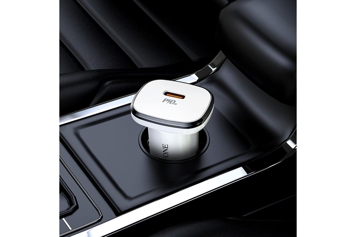 Автомобильное зарядное устройство 2USB 2400 mAh BOROFONE BZ12B Lasting power PD3.0 in-car charger set(Type-C to Lightning) белый