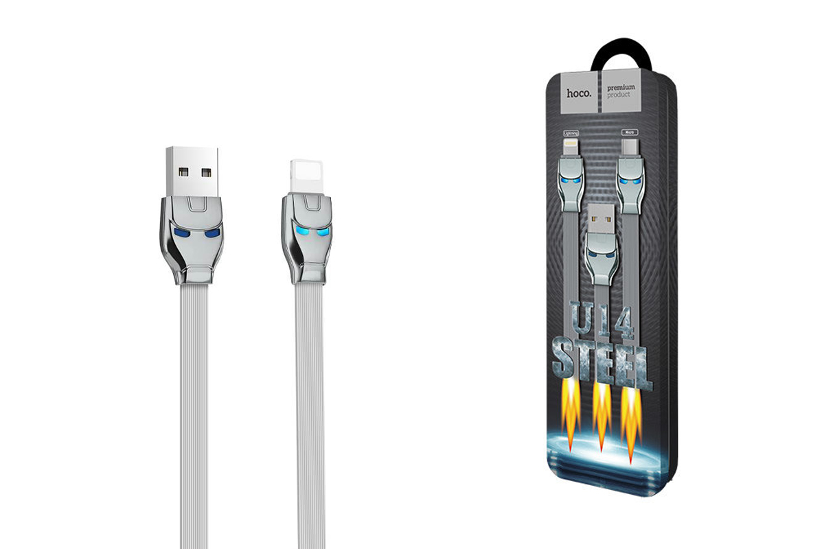 Кабель для iPhone HOCO U14 Steel man lightning charging cable 1м серый