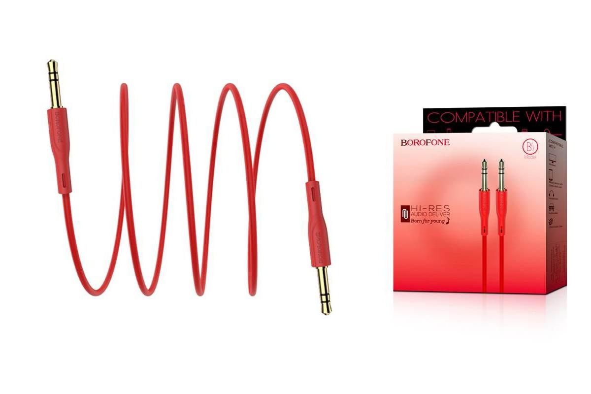 Кабель удлинитель BOROFONE BL1 AUX Audio cable 3.5 1 метр красный