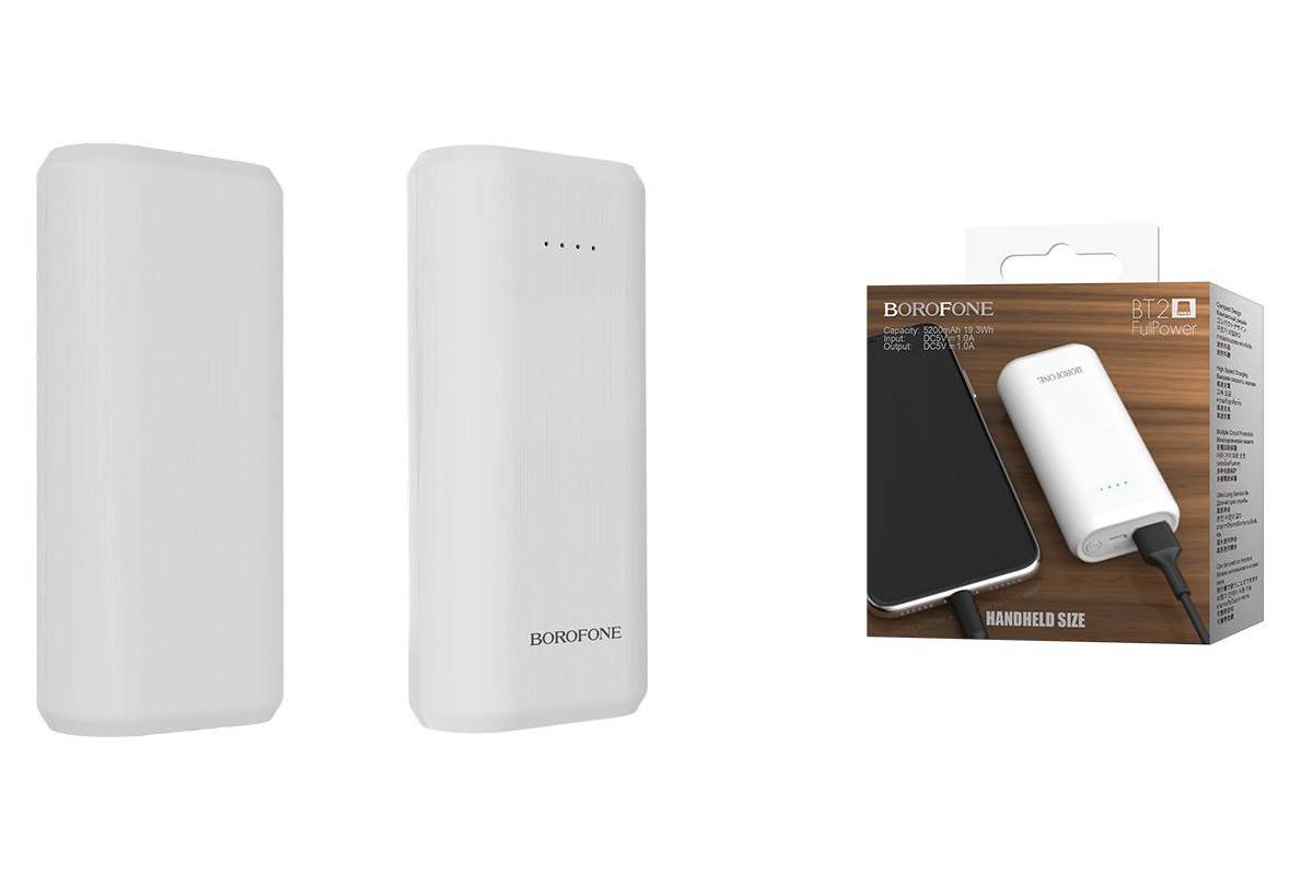 Универсальный дополнительный аккумулятор BOROFONE BT2 Fullpower Power Bank 5200 mAh  белый