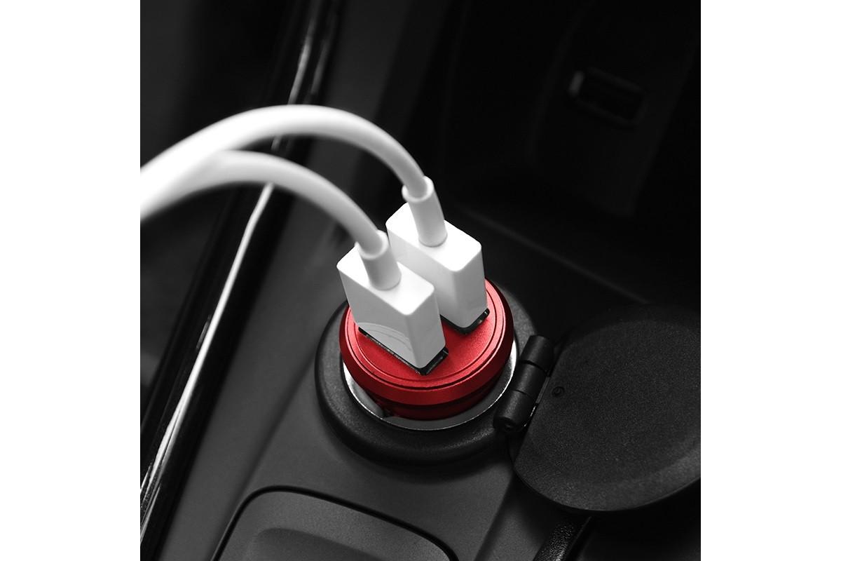 Автомобильное зарядное устройство 2USB BOROFONE BZ6 Carex dual port metal car charger 2400 mAh красный