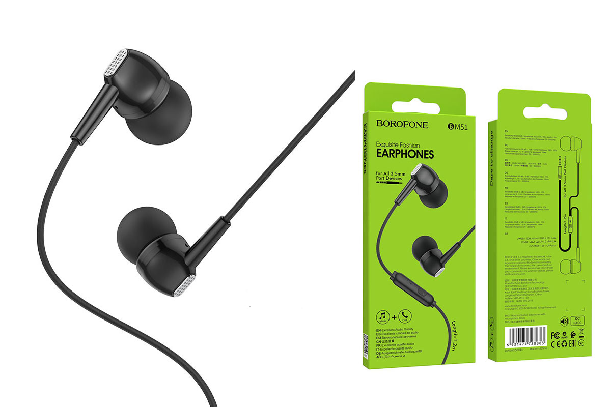 Гарнитура BOROFONE BM51 Hoary universal earphones 3.5мм цвет черная