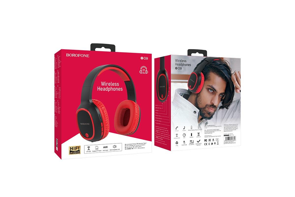 Беспроводные внешние наушники BO9 BOROFONE Pearl wireless headset красный