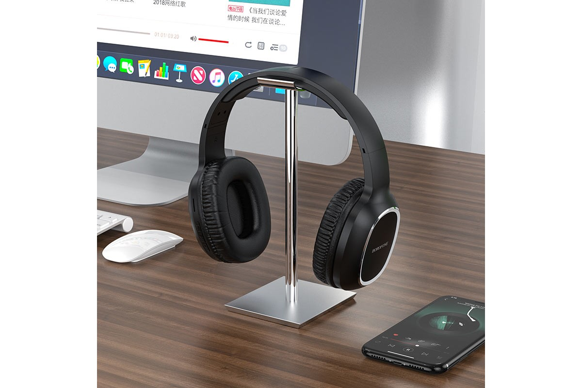 Беспроводные внешние наушники BO9 BOROFONE Pearl wireless headset черный