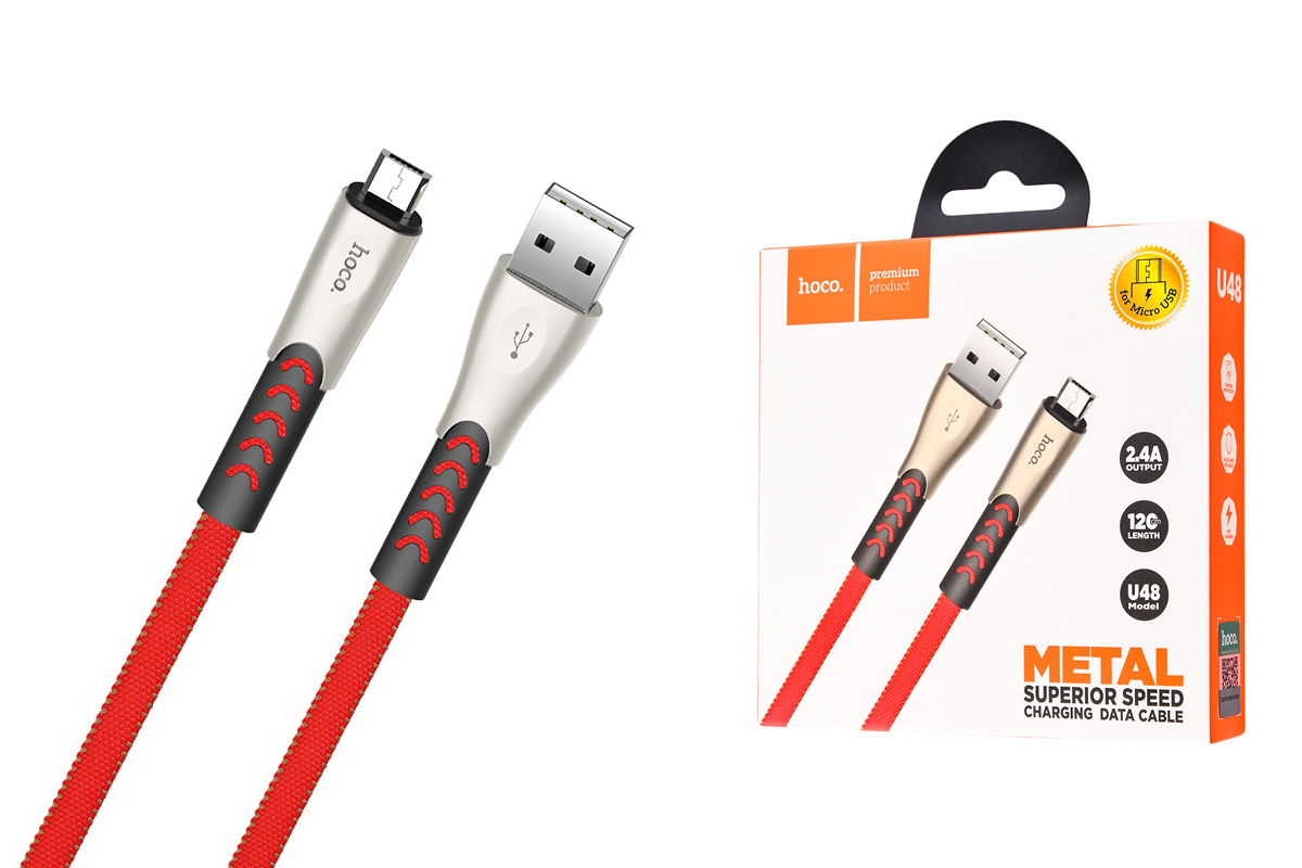 Кабель USB micro USB HOCO U48 Superior speed charging cable (красный) 1 метр