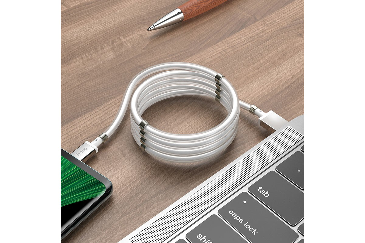 Кабель USB micro USB HOCO U91 Magic magnetic charging cable for Micro (белый) 1 метр