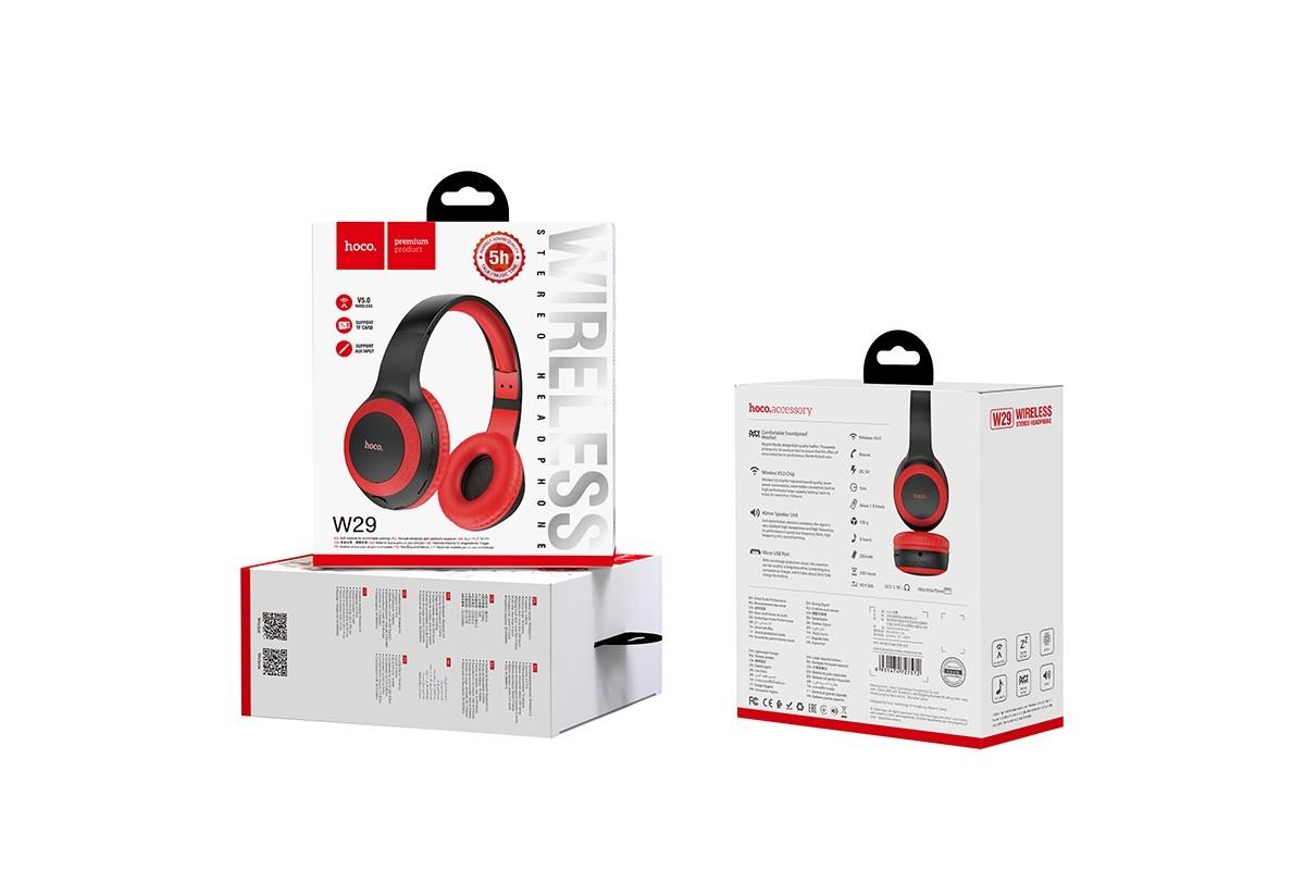 Беспроводные внешние наушники HOCO W29 Outstanding wireless headphones красный