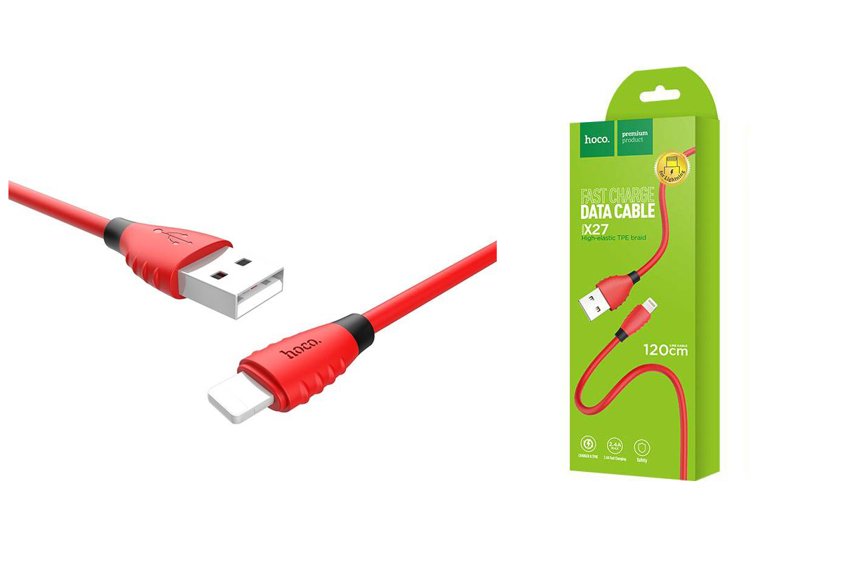 Кабель для iPhone HOCO X27 Excellent charge charging data cable for lightning 1м красный