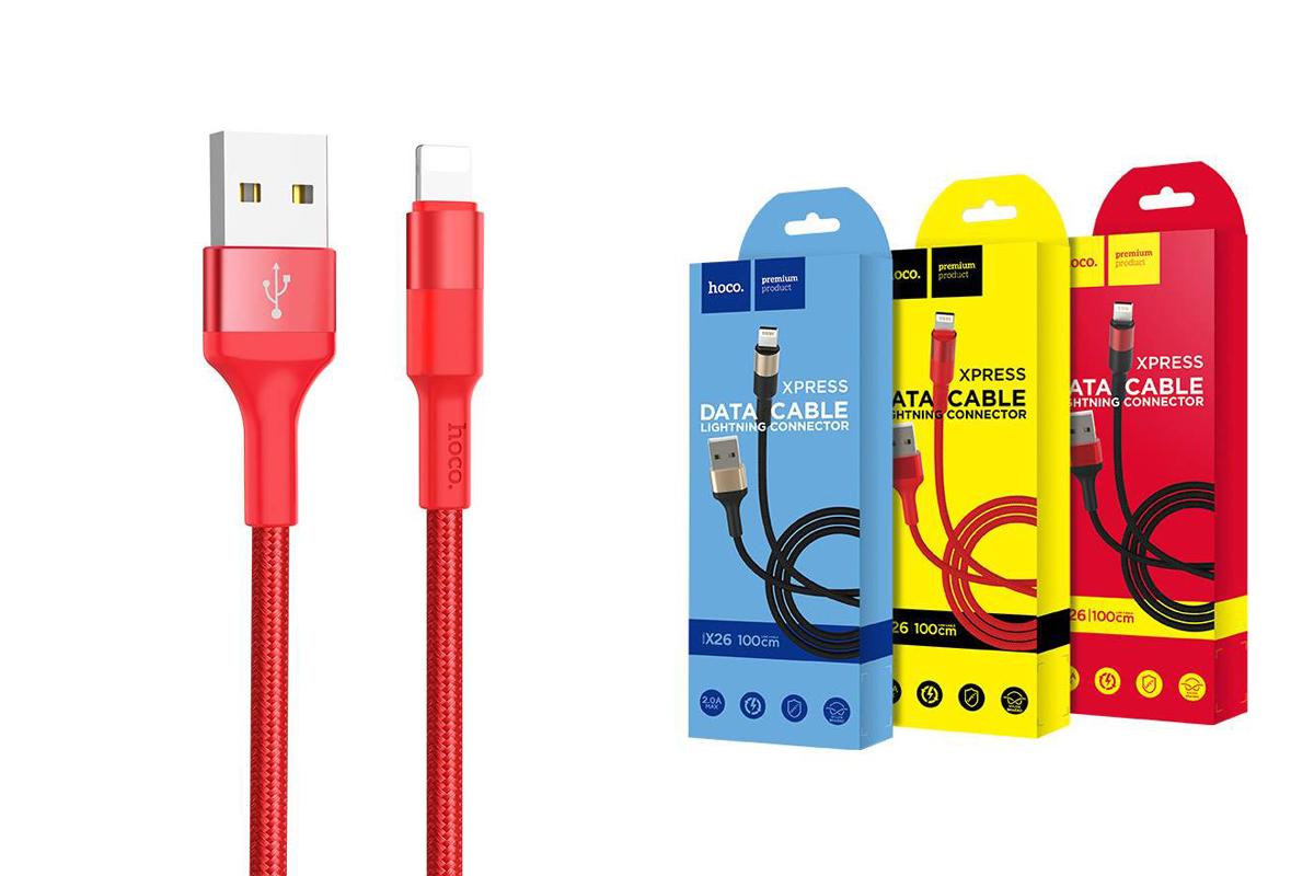 Кабель для iPhone HOCO X26 Xpress charging data cable for Lightning 1м красный