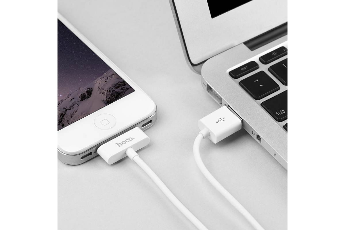 Кабель USB для iPhone 4/4S HOCO X23 Skilled charging data cable for iPhone 30 PIN 4/4S (белый) 1 метр