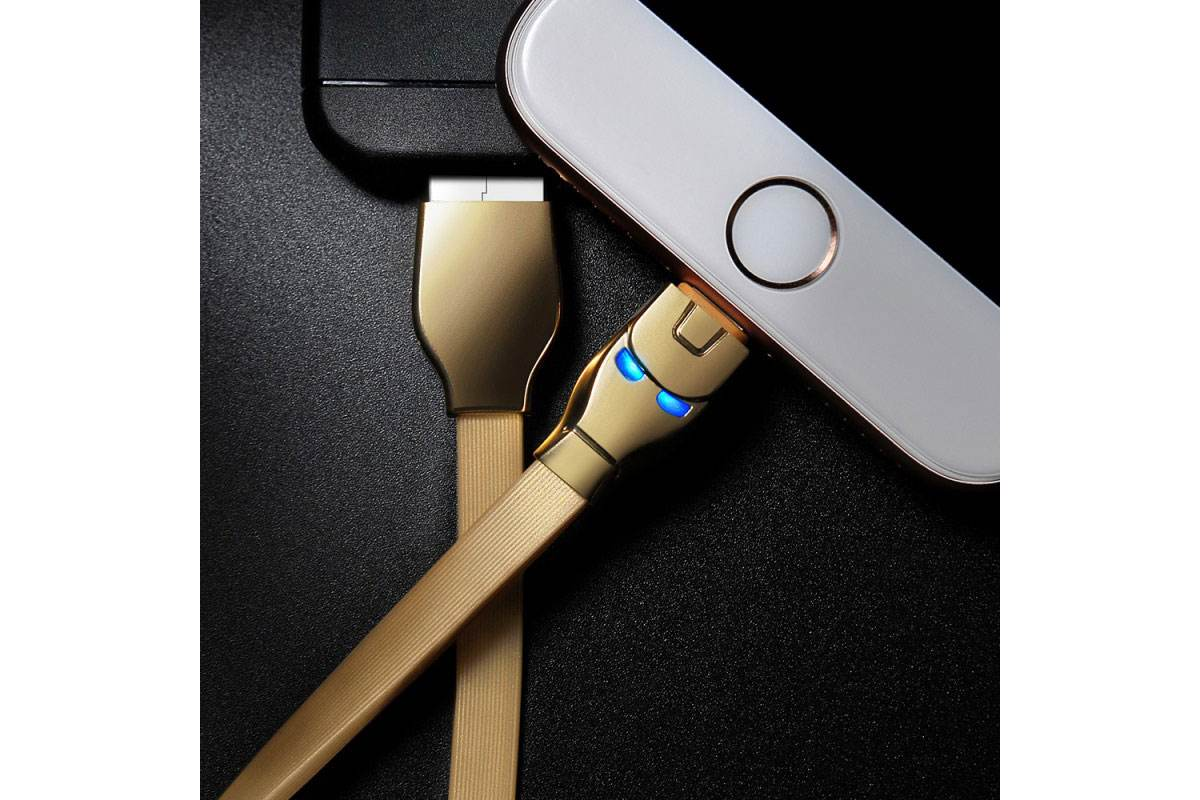 Кабель для iPhone HOCO U14 Steel man lightning charging cable 1м золотой