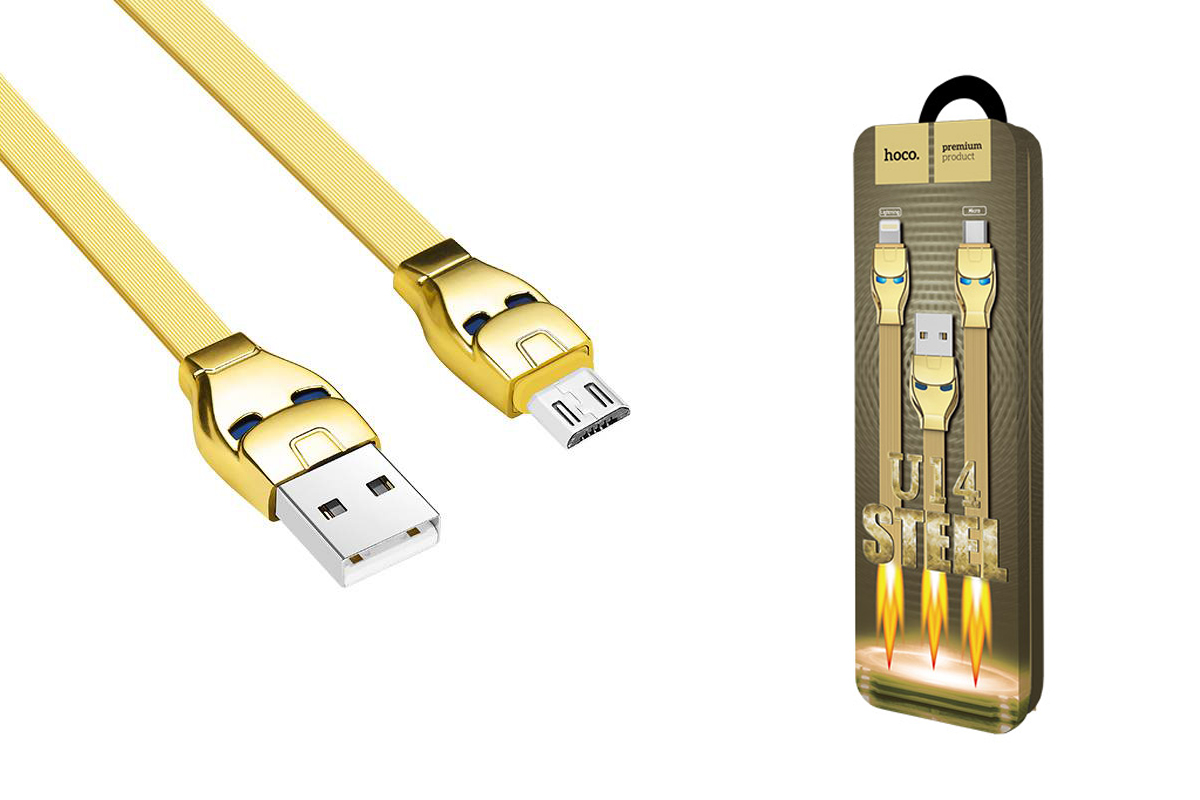 Кабель USB micro USB HOCO U14 Steel man micro charging cable (золотой) 1 метр