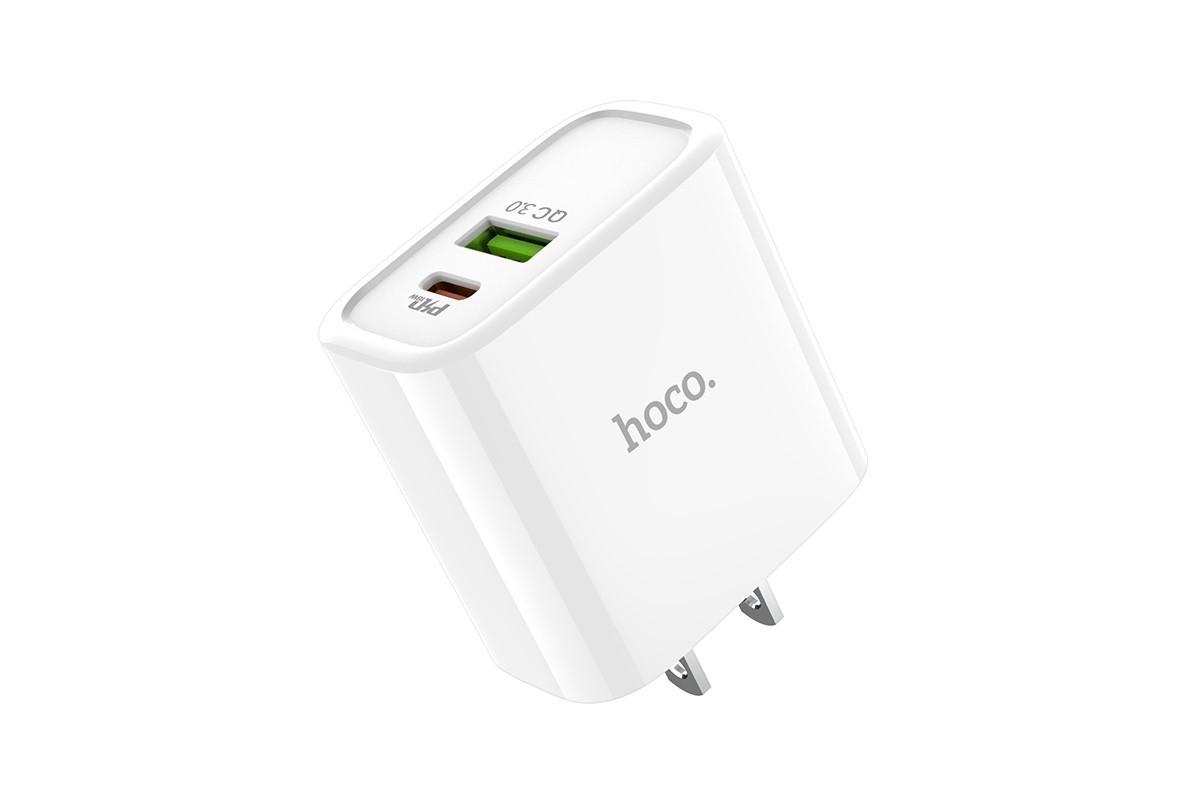 Сетевое зарядное устройство USB 3000mAh HOCO C57 Speed charger PD+QC3.0 charger белый