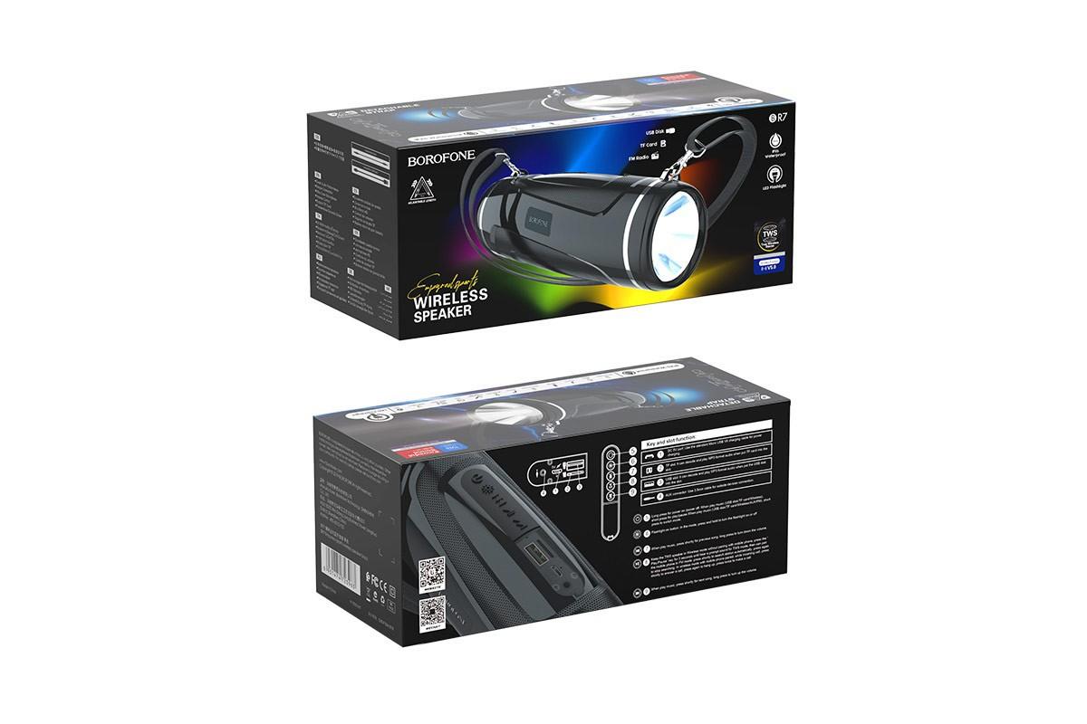 Портативная беспроводная акустика BOROFONE BR7 Empyreal sports wireless speaker  цвет черный
