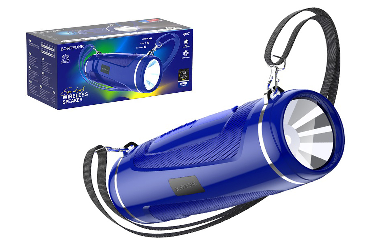 Портативная беспроводная акустика BOROFONE BR7 Empyreal sports wireless speaker  цвет синий