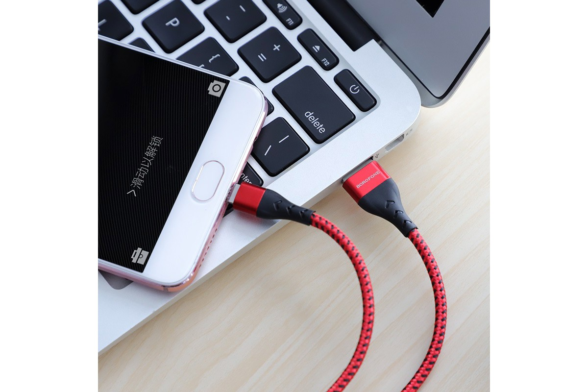 Кабель USB micro USB BOROFONE BU11 Tasteful charging data cable (красный) 1 метр