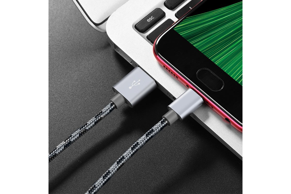 Кабель USB micro USB BOROFONE BX24 Ring current charging data cable  (серый) 1 метр