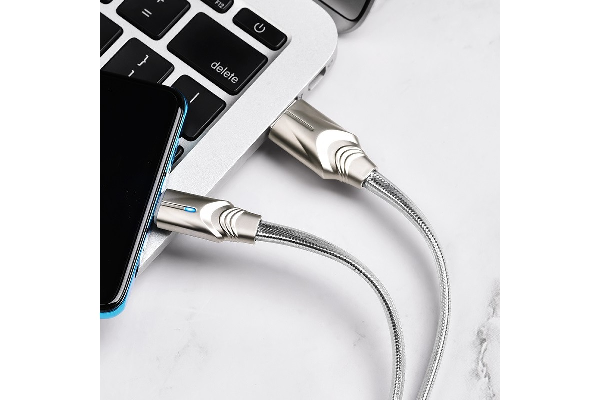 Кабель USB BOROFONE BU12 Synergy charging data cable for Type-C (серый) 1 метр