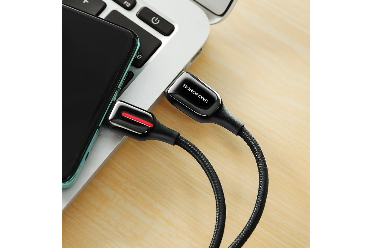 Кабель USB BOROFONE BU14 Heroic charging data cable for Type-C (черный) 1 метр