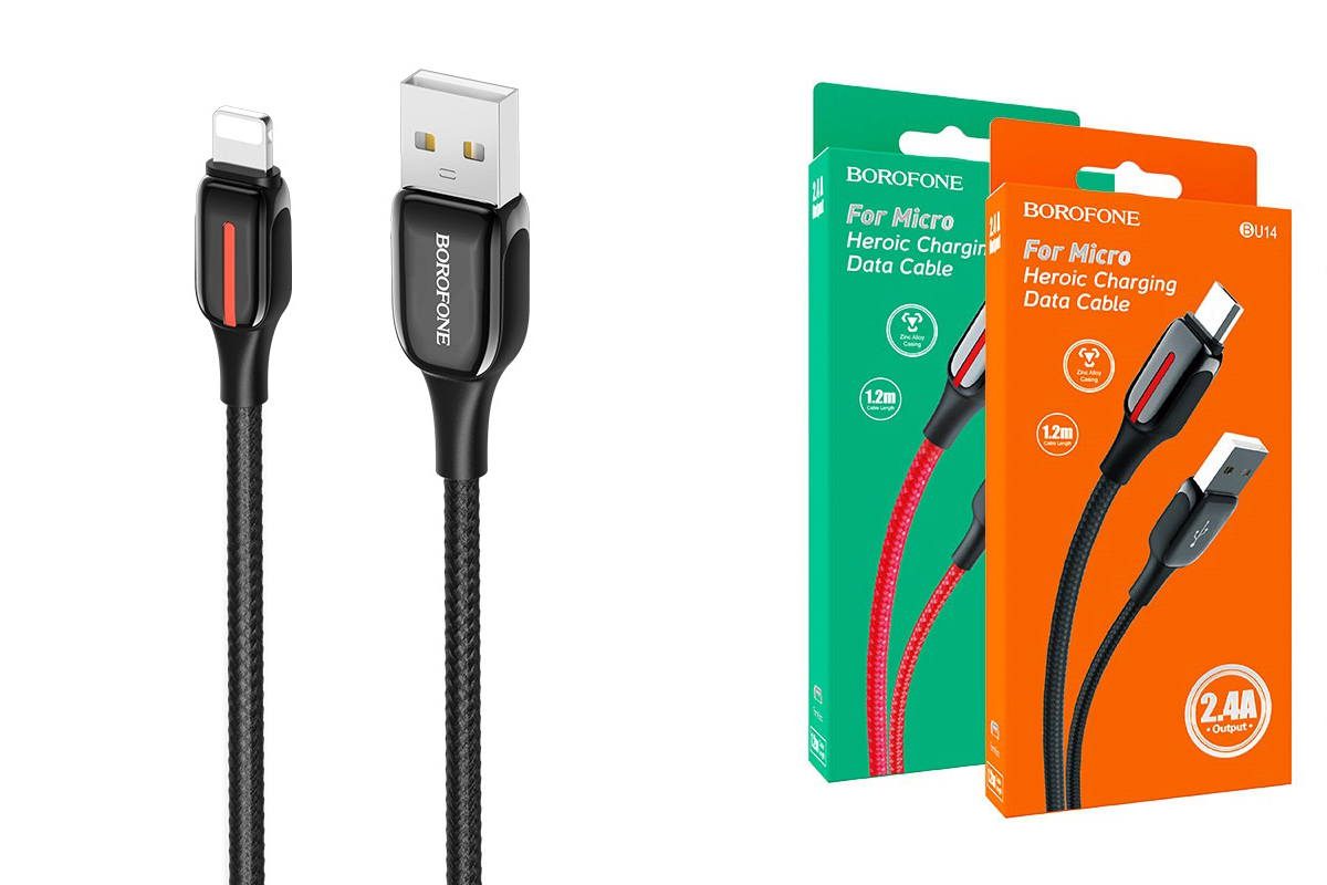 Кабель для iPhone BOROFONE BU14 Heroic charging data cable for Lightning 1м черный