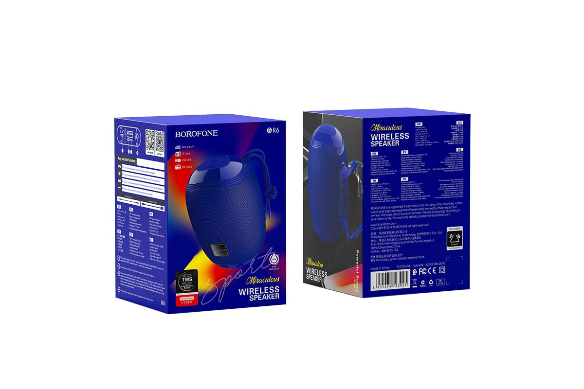 Портативная беспроводная акустика BOROFONE BR6 Miraculous sports wireless speaker  цвет синий