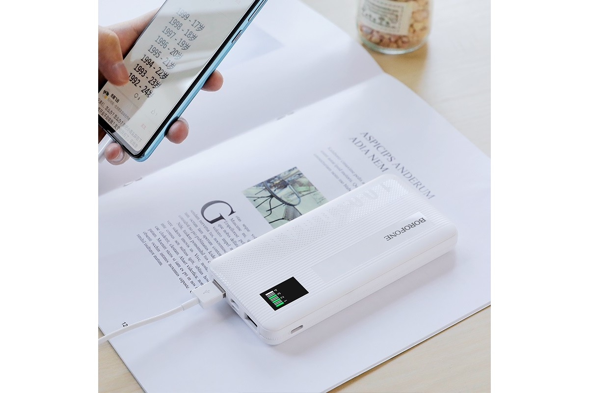 Универсальный дополнительный аккумулятор BOROFONE BT32 Precious mobile power bank 10000 mAh белый