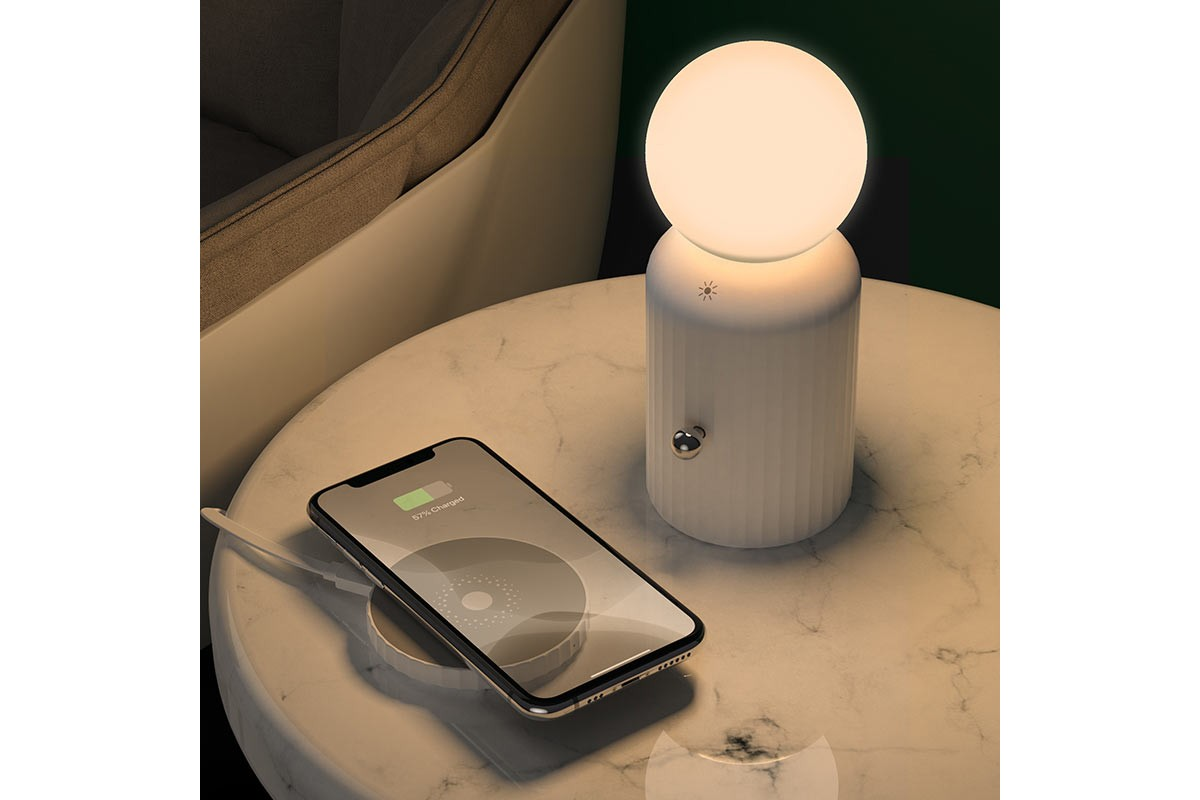 Настольная беспроводная зарядная станция-лампа HOCO H8 Jewel wireless charger черная