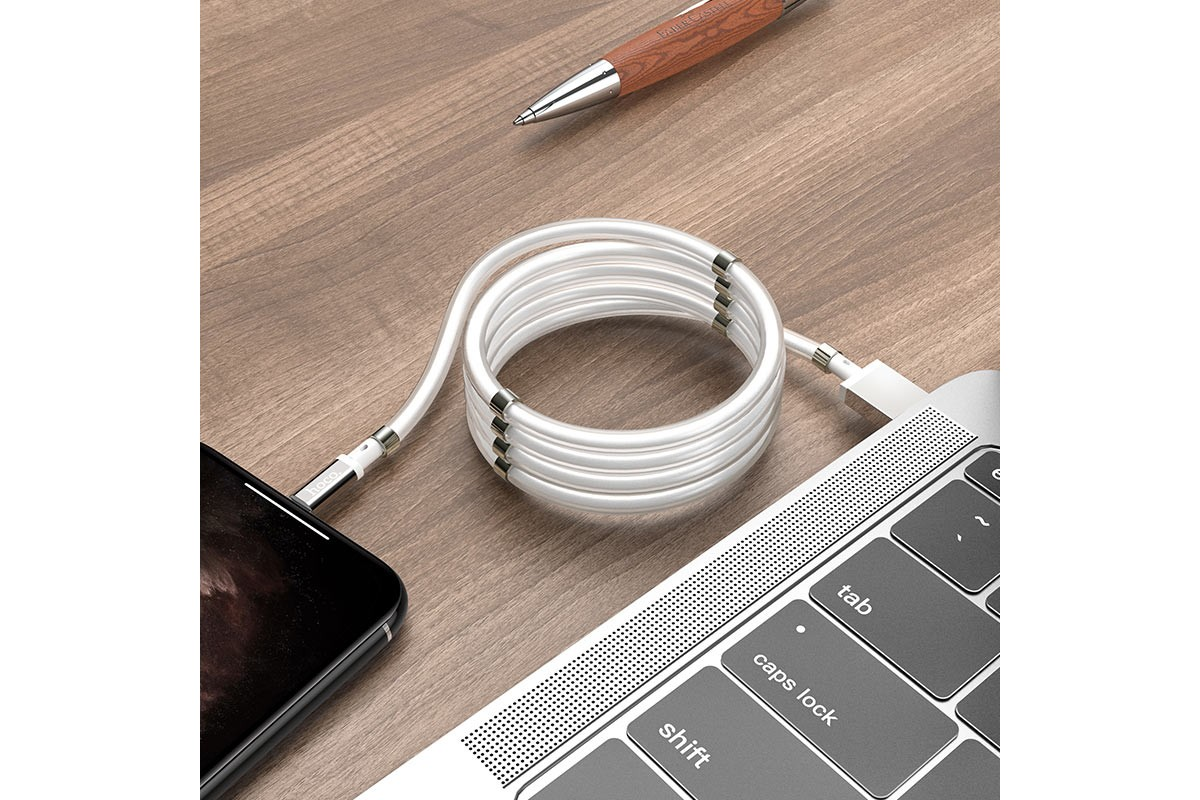 Кабель для iPhone HOCO U91 Magic magnetic charging cable for Lightning белый