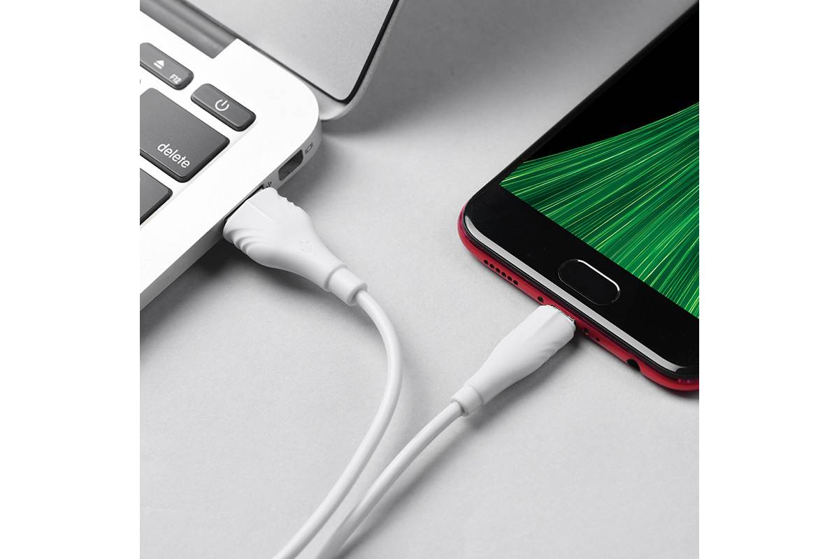 Кабель USB micro USB BOROFONE BX18 Optimal charging data cable (белый) 1 метр