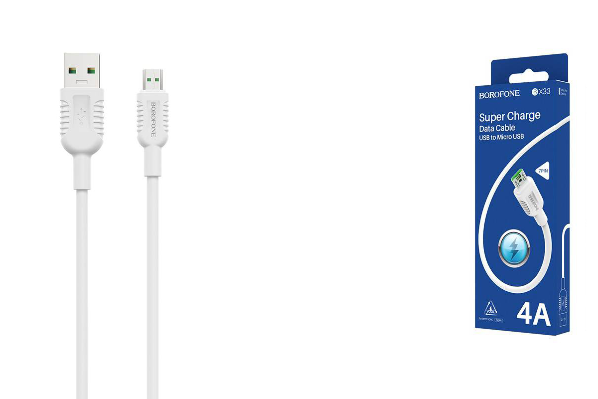 Кабель USB micro USB BOROFONE BX33 4A Billow flash (белый) 1 метр